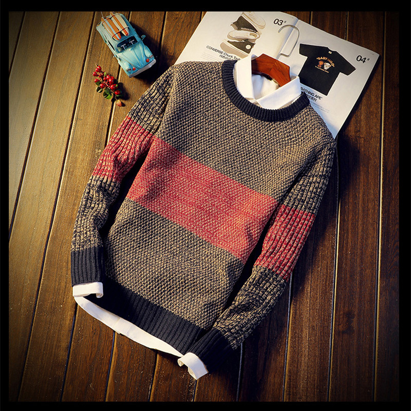 Men Autumn Winter Sweater Pullovers Jumper Men's O-Neck Mixed Color Long Sleeve Casual Streetwear Sweaters
