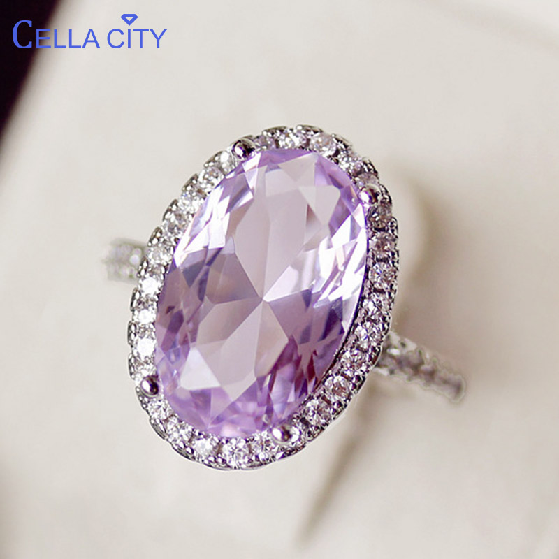Cellacity Large Gemstones Ring For Women Silver 925 Jewelry Oval Shaped Purple Zircon Female Anniversary Party Rings Size6-10