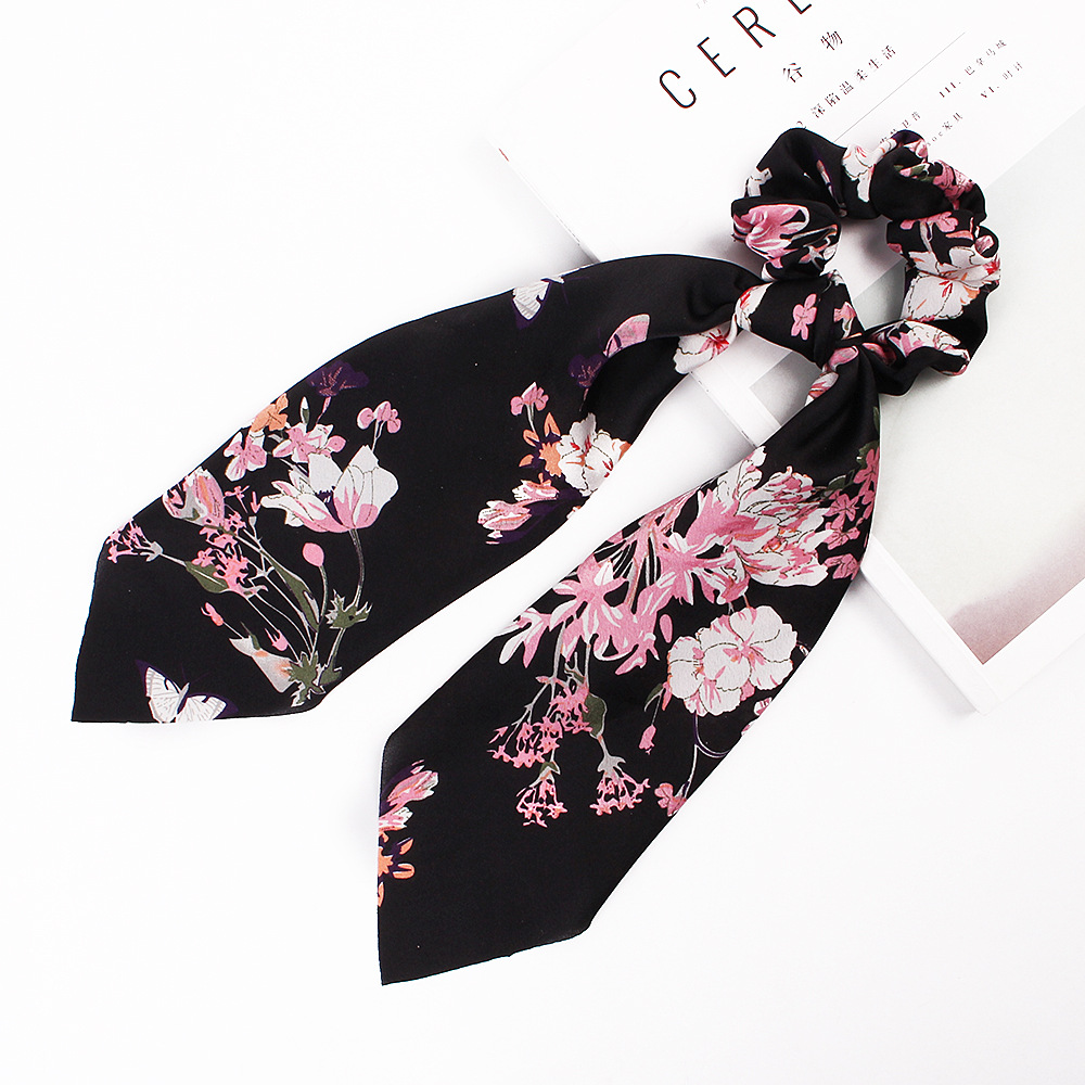 H6129bc9a723043c6b5d9f3b288992187l - Fashion Silk Satin Summer Ponytail Scarf Stripe Flower Print Ribbon Hairbands Hair Scrunchies Vintage Girls Hair Accessoires
