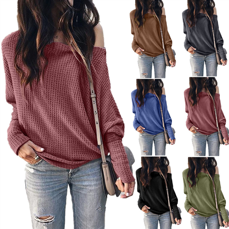 2020 New Spring Women Oblique Collar Lantern Sleeve Solid Color Sweater Female Fashion Casual Comfortable Loose Plus Size Tops