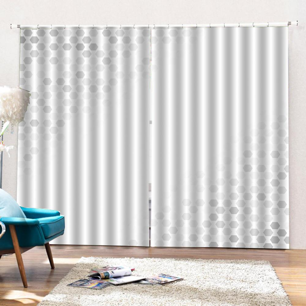 white curtains Customized size Luxury Blackout 3D Window Curtains For Living Room Solid color curtain