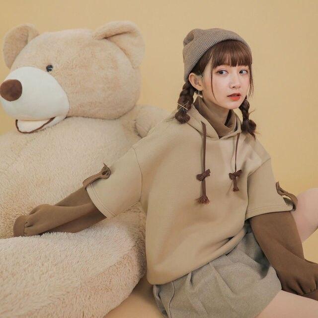 Beige hoodie in shape of anime bear for women