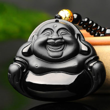 Buddha Jade Pendant Natural Black Obsidian Necklace Chinese Hand-Carved Fashion Charm Jewelry Lucky Amulet for Men Women Gifts natural black obsidian pixiu safety buckle jade pendant necklace hand carved fashion charm jewelry amulet for men women gifts
