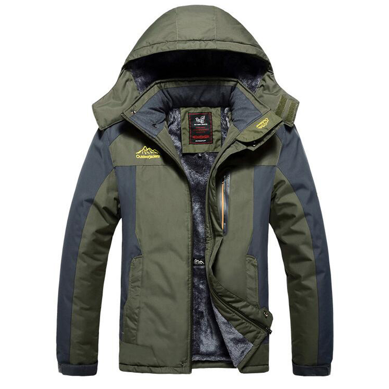 Size <font><b>6XL</b></font> <font><b>7XL</b></font> 8XL <font><b>9XL</b></font> Winter Jacket Men Thick Windproof Waterproof Fleece Coat Mens Military Outwear Parka Plus Velvet Overcoat image