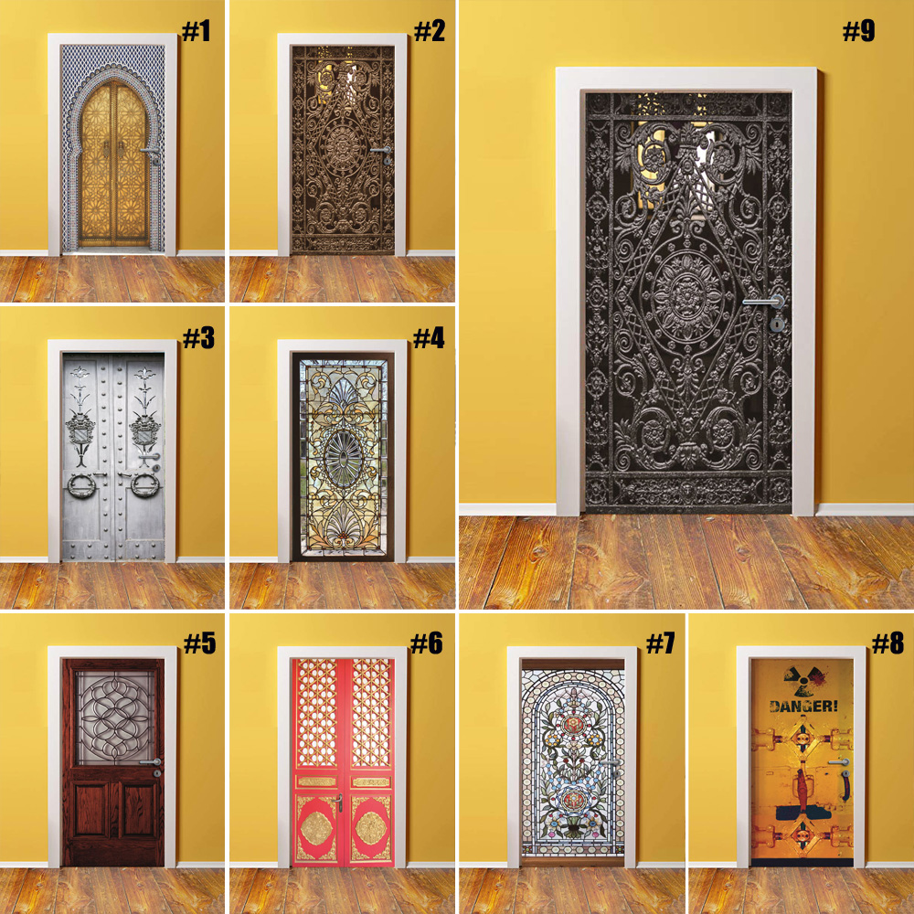 Self Adhesive Renew Home Decored 3d Door Sticker Retro Print Art Waterproof Wallpaper Mural Wardrobe Renovation Decal Pictures