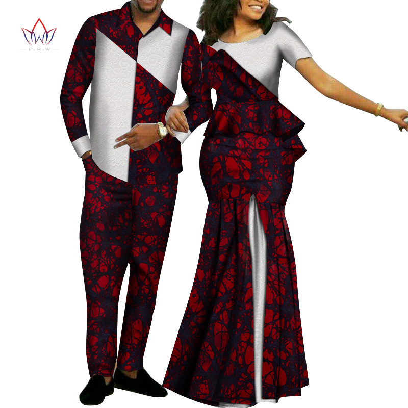 Africa Style Couples Clothing For Sweet Lovers Bazin Women Skirt Sets & Mens Sets Dashiki Plus Size Wedding Clothing WYQ268