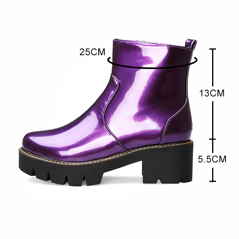 Image 3 - autumn Women ankle Boots fashion simple slip on Bright leather platform Booties feminina yellow purple Thick with shoes woman 38-in Ankle Boots from Shoes