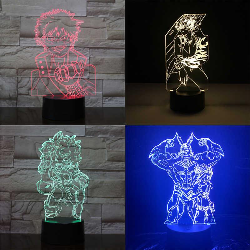 3D Anime Nachtlampe MY HERO ACADEMIA 7 Farben Touch-Funktion Tischlampe Decor