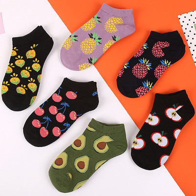 New Korean Fruit Short Socks, Pure Cotton Candy Female Boat Socks, Avocado Socks