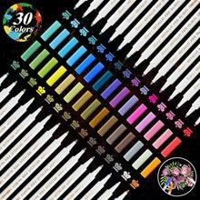 30 Color Metallic Marker Pen Set Rock Stone DIY Photo Album Pens Art for Glass Paint FabricWood Metal Permanent Graffiti Drawing