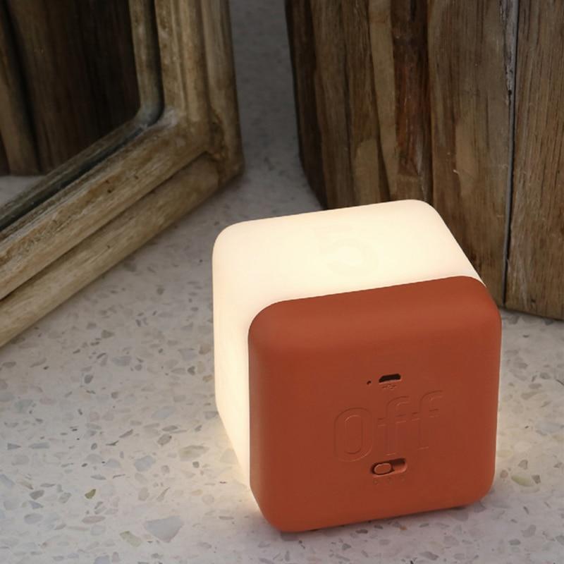 Rubik's Cube LED Night Light Baby Nursery Square Bedside Lamps Timing Brightness Adjustable Lights For Home Bedroom Decoration