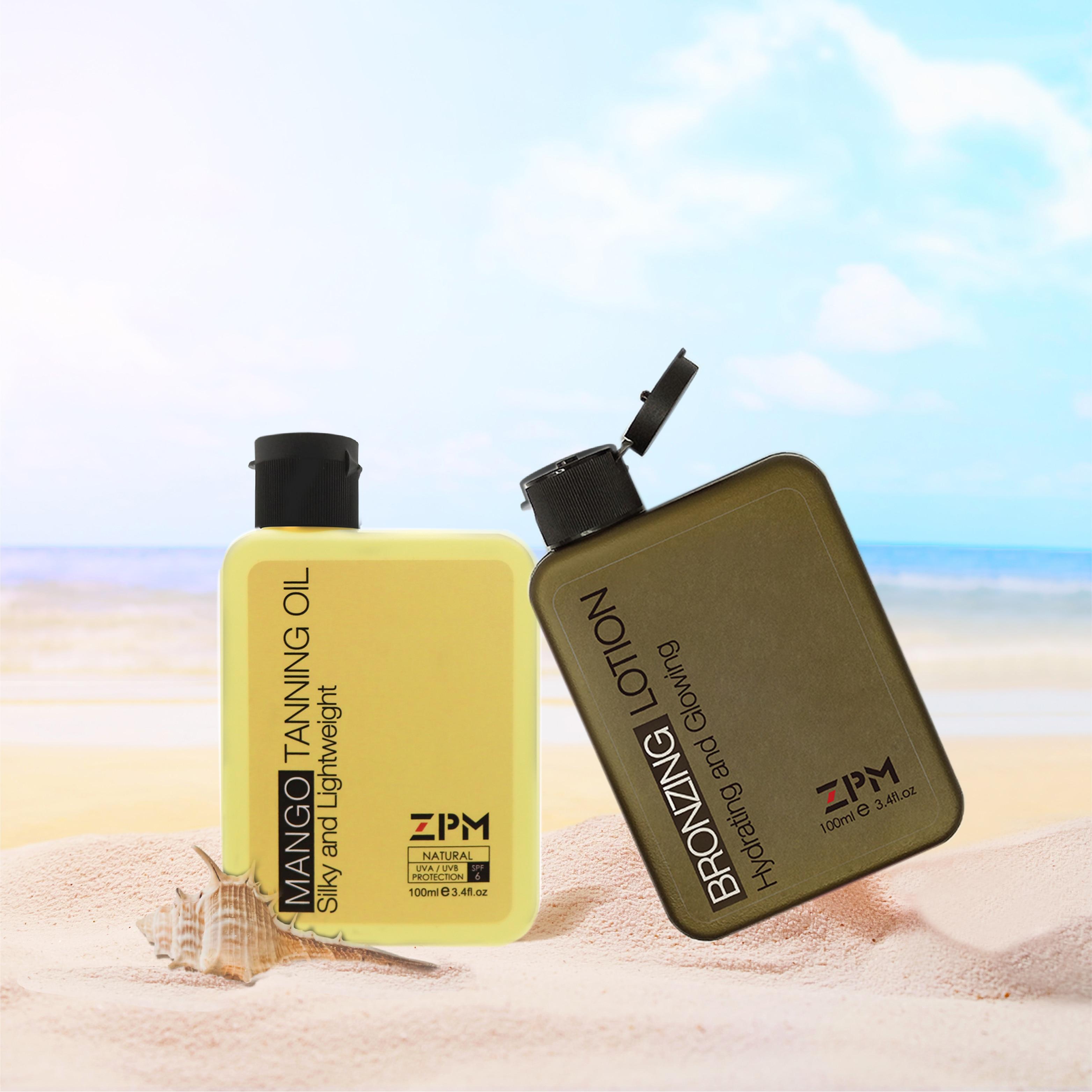 ZPM Mango Tanning Oil+bronzing Lotion SPF 6 Broad Spectrum Coconut Oil,Vintam E Hypoallergenic 3.4oz./100mlx2