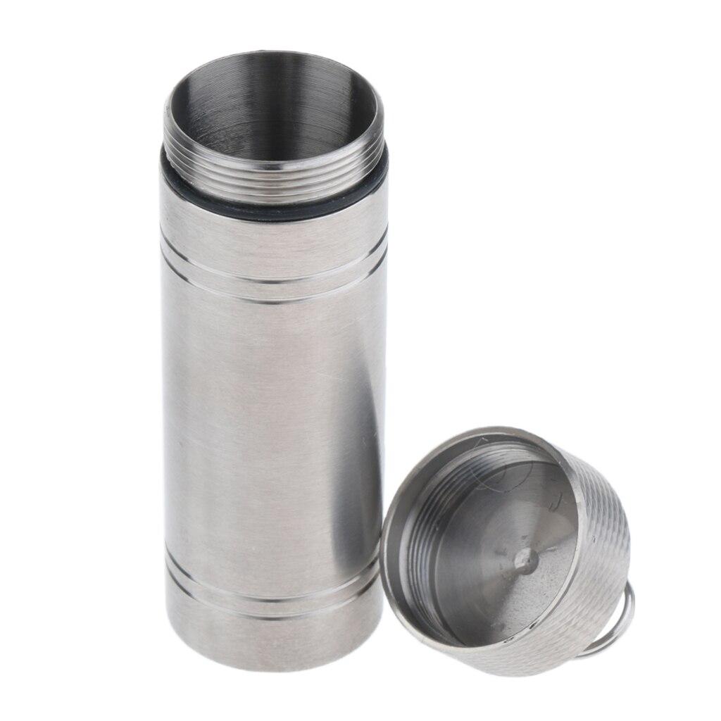 Titanium Waterproof Pill Box Keychain Capsule Medicine Tablet Holder Bottle