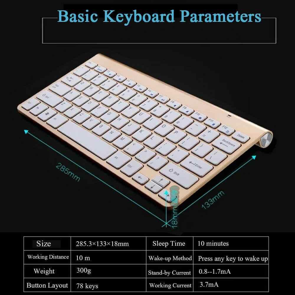 HobbyLane Mini clavier sans fil Mini ensemble de souris étanche 2.4G pour Mac Apple PC ordinateur sans fil clavier avec souris r60