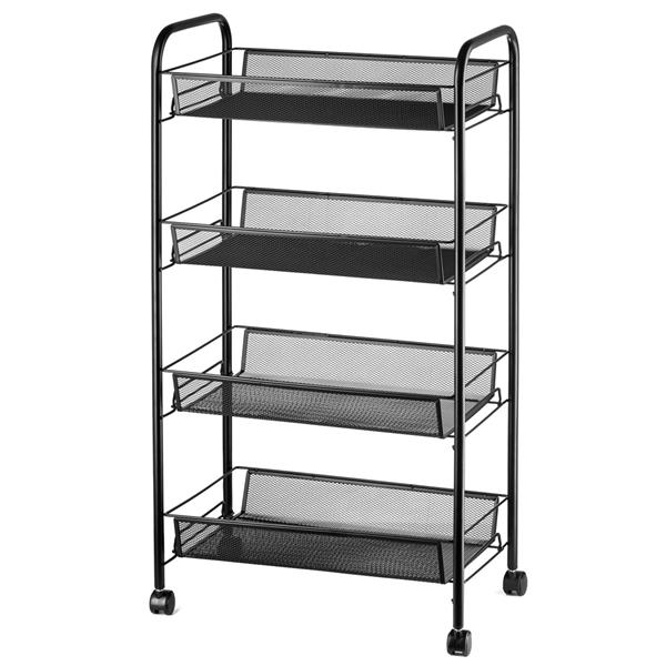 4 Tiers Mesh Shelf Storage Rack Kitchen Rolling Storage Cart with Hook title=