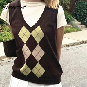 Sweetown Argyle Plaid Knitted Womens Sweater Vest England Preppy Style Y2K Clothes V Neck Casual 90s Knitwear Autumn Streetwear