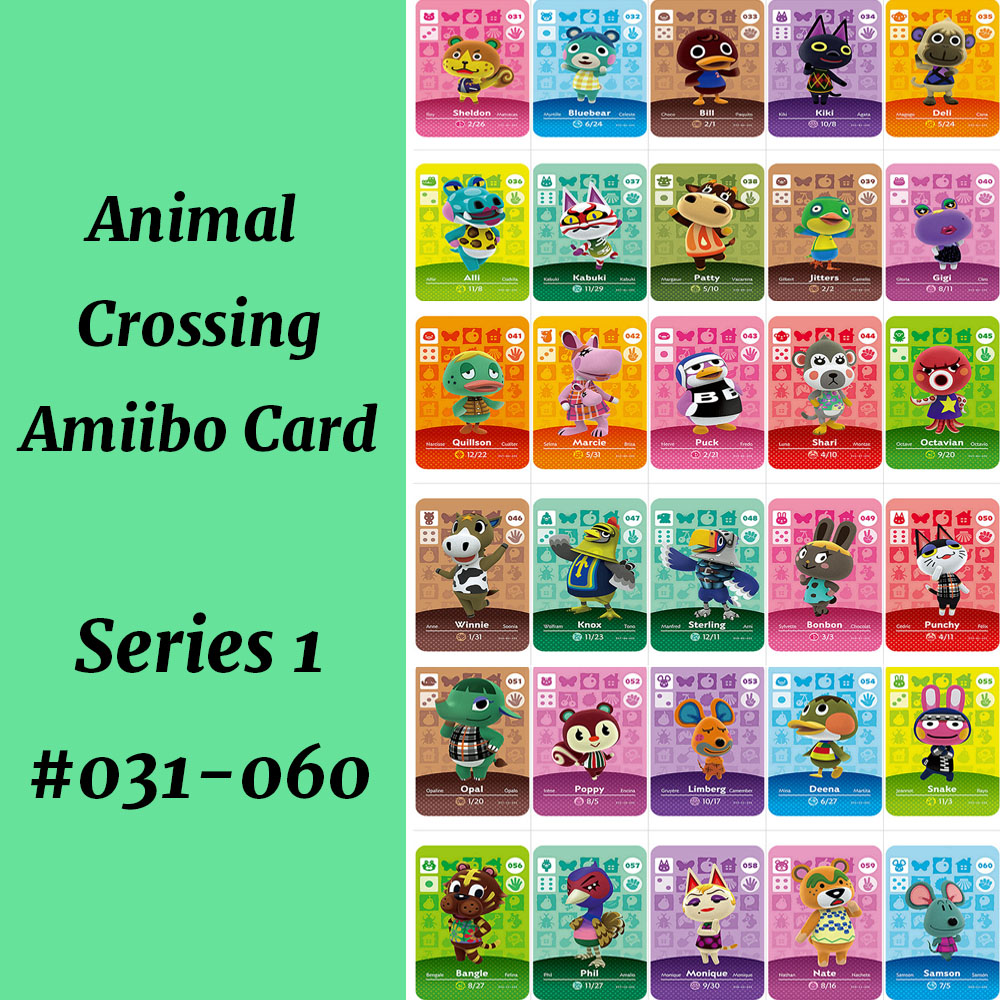 Series 1(031 To 060) Kabuki Punchy Bluebear Octavian Poppy Kiki Amiibo Card Work For NS Games Animal Crossing Card