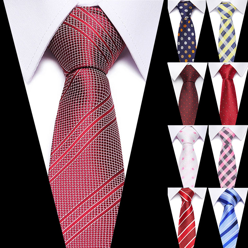 Luxury Red Striped  Necktie 7.5cm Tie For Man Bussiness Formal Wedding Party