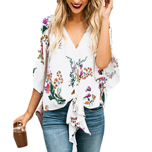 Women Summer Chiffon Casual Floral Print Blouse V-neck Short
