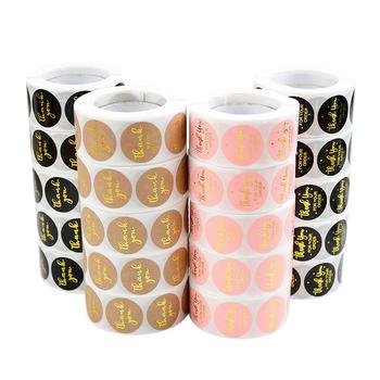 500 sztuk rolka 2 5cm dziękuję naklejki pieczęć etykiety opakowanie na prezenty naklejki ślub Birthday Party oferta naklejki papiernicze tanie i dobre opinie CN (pochodzenie) Paper ZY865