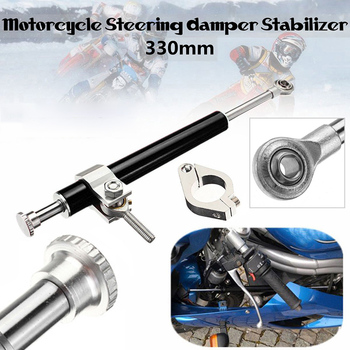 Universal Damper 330mm Aluminum Alloy Motorcycle Steering Black 1pcs Parts