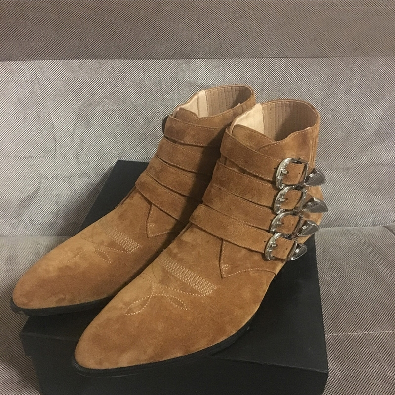 Runway Men Buckle Boots Handmade Cow Leather Cowboy Ankle Boots Shoes Fashions Pointed Toe Punk Motorcycle Boots Black Plus Size