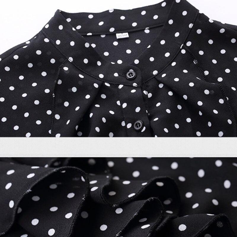 Women Casual polka dots blouse Chiffon long sleeve office ladies  Button Shirt black tops plus size Black Women Clothing (7)