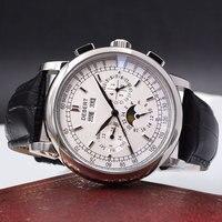 Relogio a prova de agua automáticas homens mecânicos do relógio stee Inoxidável montre homme 316L механические мужские часы Lua Phase6015