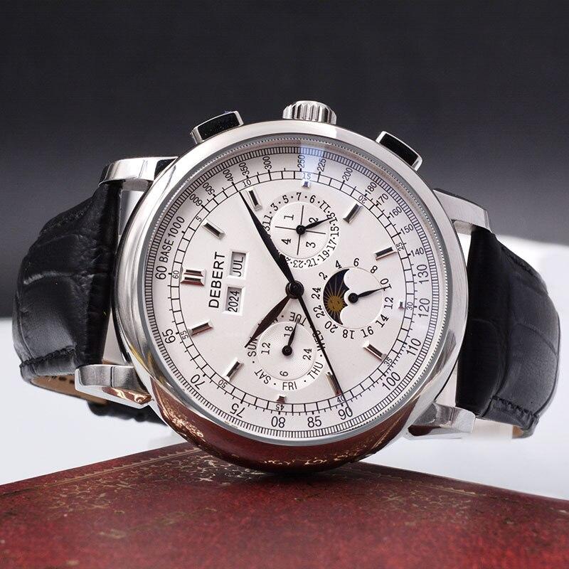 Relogio un prova agua automatique montre mécanique hommes часы мужские механические montre homme 316L en acier Inoxydable Lune Phase6015