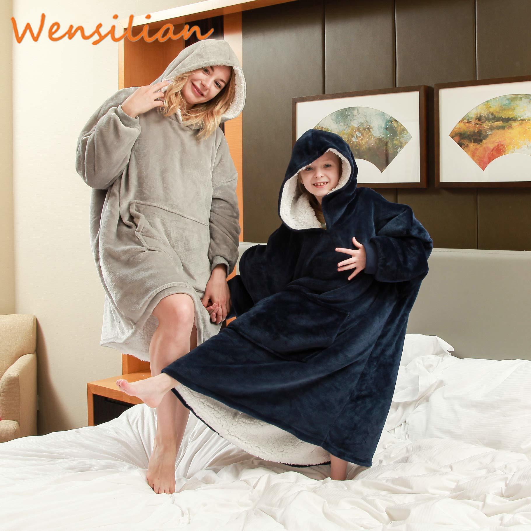 Oversized Sweatshirt Women's Hoodie TV Blanket With Sleeve Plaid Giant Hoodies Sudadera Mujer Fleece Oversize Bluza Damska
