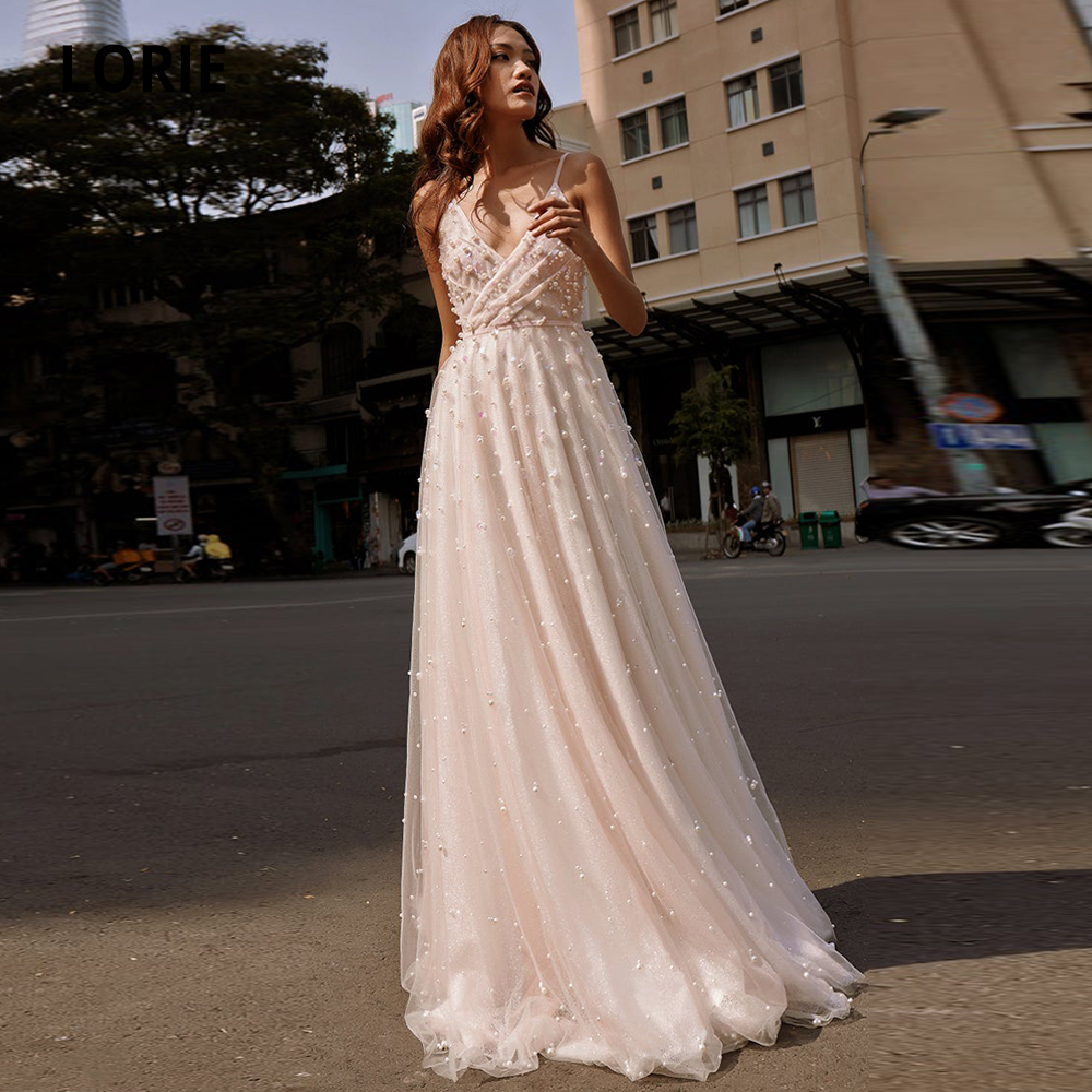 LORIE Pearl Tulle Wedding Dresses Boho 2020 V-neck Sleeveless A-line Beach Bridal Gowns Princess Wedding Party Dress Plus Size