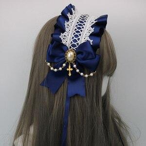 Image 4 - Japonês macio irmã lolita laço headdress doce selvagem kc faixa de cabelo grampo lateral acessórios para o cabelo handwork headdress