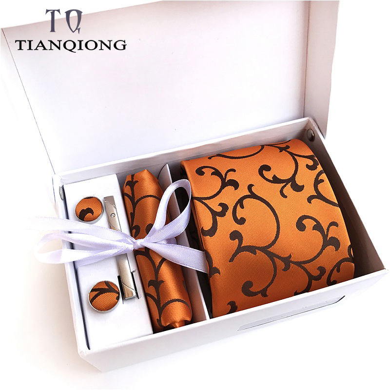 TIAN QIONG Luxury Ties For Men Paisley Silk Jacquard Woven Tie Handkerchief Cufflinks&clips Gift Box Set Wedding Party Neck Tie