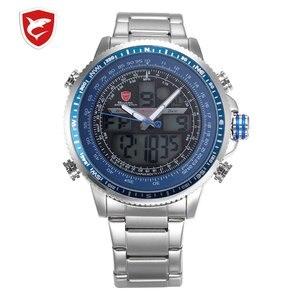 SH325N Luxury Winghead SHARK Sport Watch Men Black Dual Time Date Alarm Steel Band Relogio Masculino LCD Quartz Digital Watches