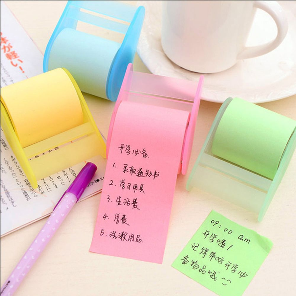Fluorescent Paper Sticker Memo Pad Stationery Can Tear Reel Sticky Notes Tape School Office Supply Gift For Kid Creative