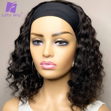 Scarf Wigs Human-Hair Luffy Short Curly Hair-Color Glueless Black Natural Women Brazilian