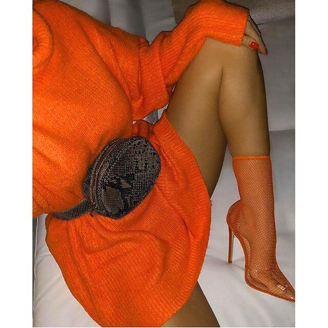Fashion Turtleneck Oversized Sweater Winter Clothes Women Neon Green Pink Orange Pullover Ladies Knit Tops 2