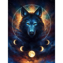 5D DIY Diamond Painting Fantasy Animal Wolf Full Round Embroidery Cross Stitch Wall Decor