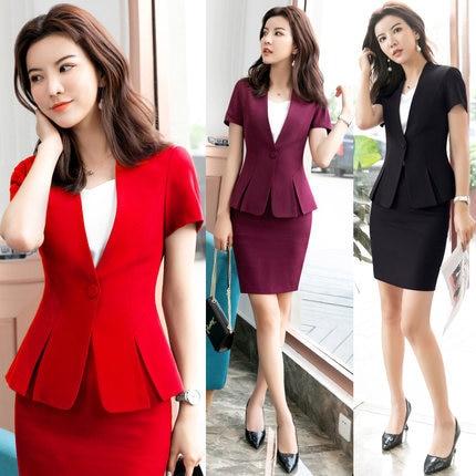 Women's Elegant Formal Business OL Spring Summer Long Sleeve Slim Blazer And Skirt Suit Office Ladies Work Wear Blazers Jacket