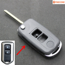 PINECONE Key Fob Case for TOYOTA CAMRY PRADO HIGHLANDER YARIS VIOS 2 Button TOY43 Blade Repair Modified Remote Car Shell