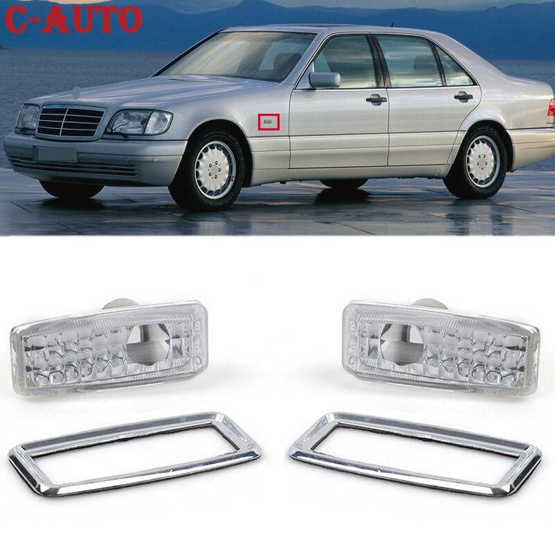 C-Авто 2 шт./компл. автомобиля боковые указатели поворота Индикатор ретранслятор лампы объектив маркер светильник крышка для Mercedes Benz W124 R129 W140 W202 W201
