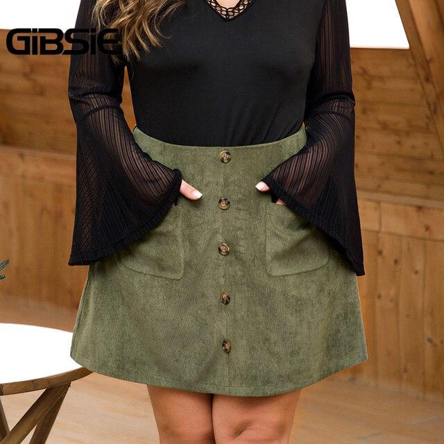 GIBSIE Plus Size Women Solid Button Corduroy Skirt Autumn winter Pocket Casual Office Lady High Waist Fashion Slim A-line Skirt 1