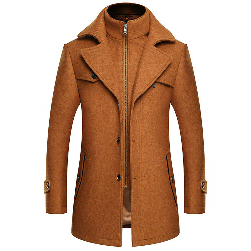 Autumn Winter Yellow Woolen Coat Male Slim Large Size Windbreaker Men Thick Extra Long Wool Coat Mens Casual Overcoat 3xl 4xl