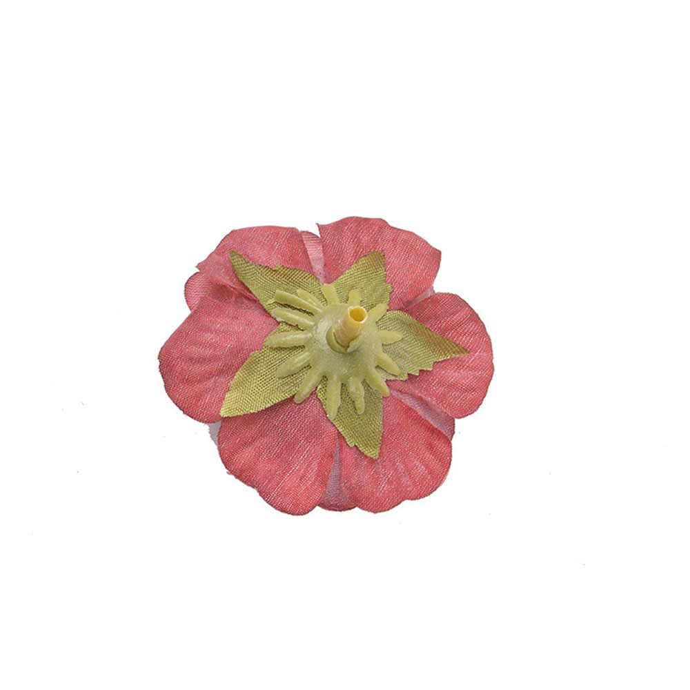 Buatan Tangan Bunga Sutra Mawar Buatan Diy Kain Rose Bunga Head Pernikahan Home Perabotan Simulasi Bunga Lembar Kerajinan