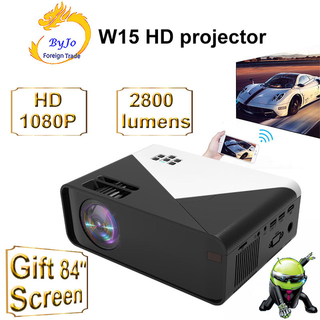 ByJoTeCH W15 Projector Support 1080P Videos Via HDMI Home Cinema Movie Proyector WiFi Multi Screen Android 9 optional Beamer
