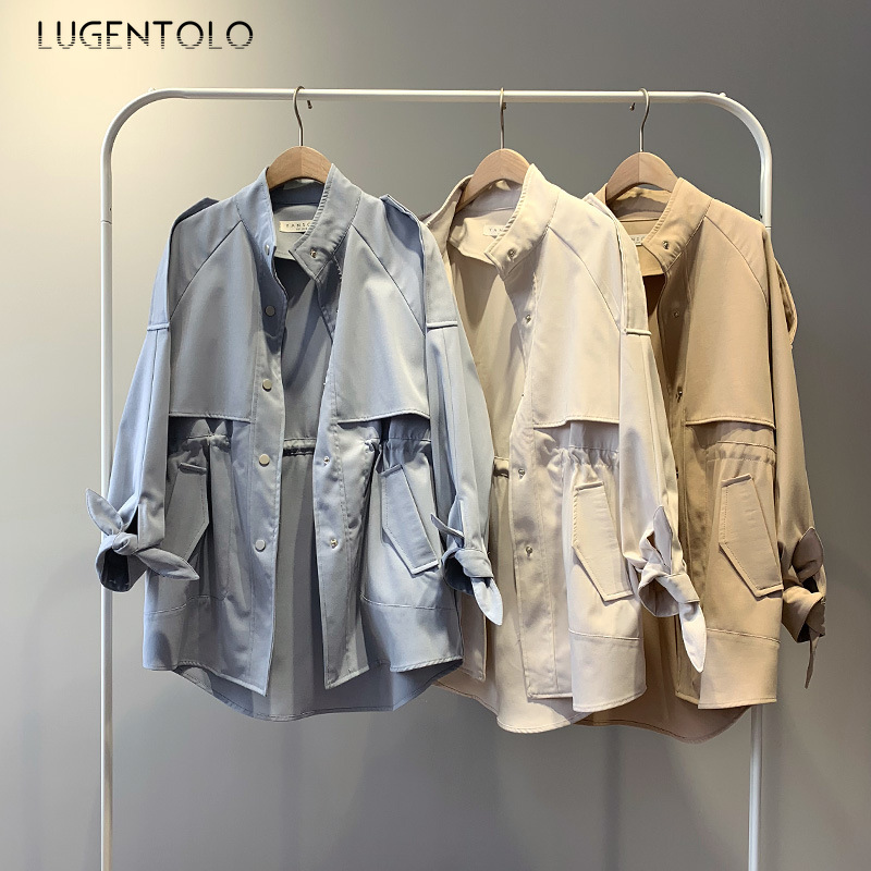 Lugentolo Trench Coat For Women New Autumn Loose Single-breasted Standing Collar 4 Solid Colors Simple Temperament Loose Trench