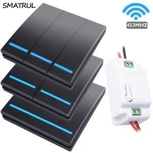 SMATRUL 1/2/3 gang 433Mhz smart push Light Interruptor RF Wireless Remote control 110V 220V Receptor Tile Panel Dialog(China)