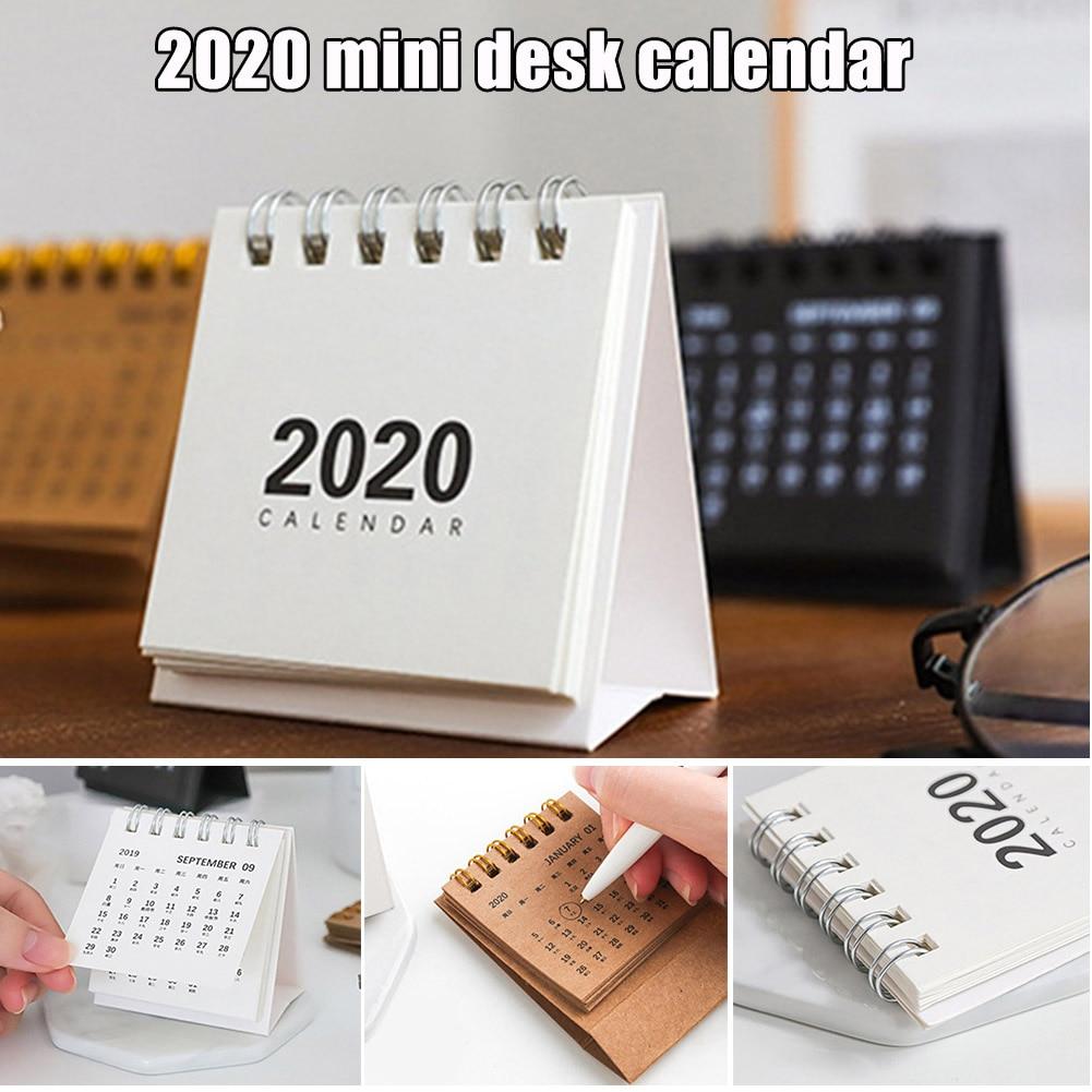 High Quality 2020 New Year Mini Desk Calendar Simple Desk Coil Notepad Kraft Paper Calendar Daily Schedule