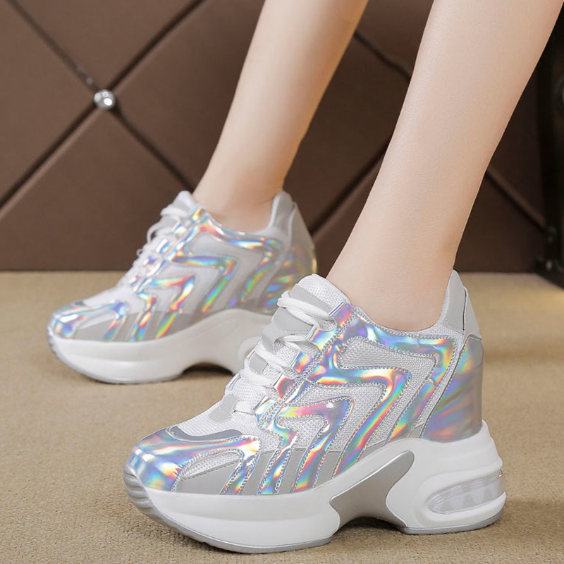 Rimocy Autumn Platform Silver Laser Sneakers Women Height Increasing Air Cushion Shoes Woman Thick Bottom Running Sneakers Mujer