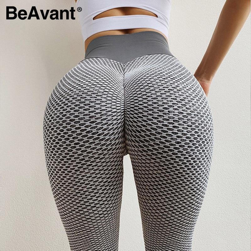 BeAvant Workout sports female skinny gym leggings women Push up sport leggings fitness High waist pants capris legging plus size